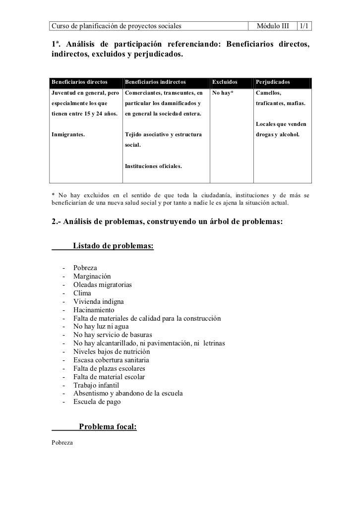 Curso de planificación de proyectos sociales                              Módulo III       1/11ª. Análisis de participació...