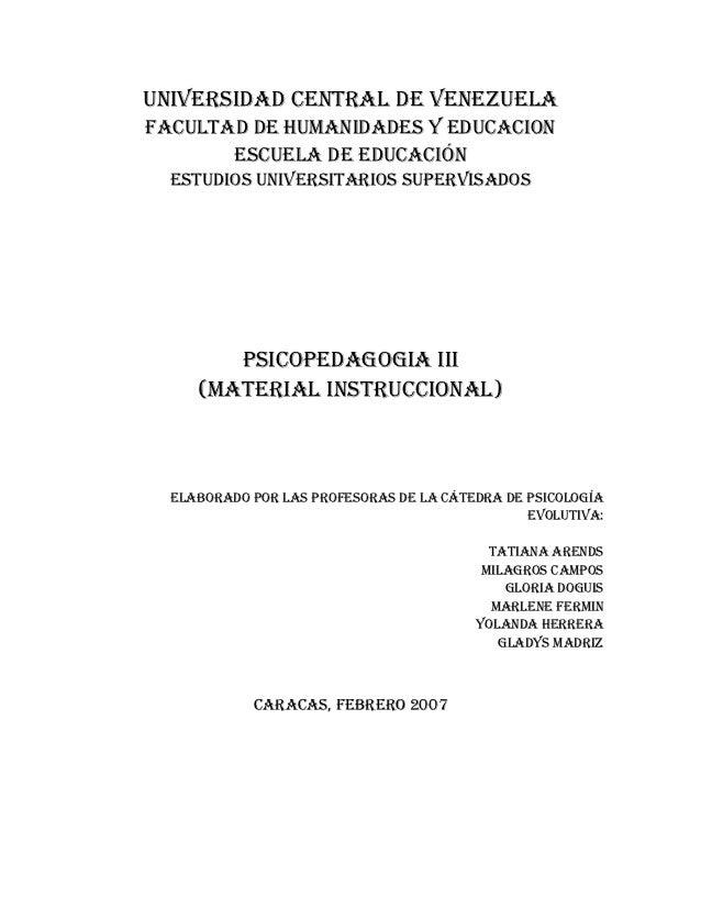 UNIVERSIDAD CENTRAL DE VENEZUELAFACULTAD DE HUMANIDADES Y EDUCACION       ESCUELA DE EDUCACIÓN  ESTUDIOS UNIVERSITARIOS SU...