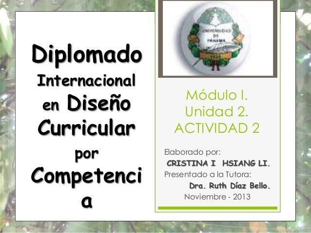 Diplomado Internacional  Diseño Curricular en  por  Competenci a  Módulo I. Unidad 2. ACTIVIDAD 2 Elaborado por: CRISTINA ...