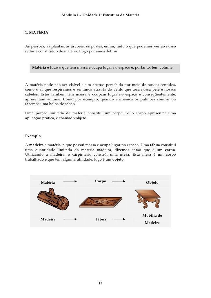 Módulo I – Unidade 1: Estrutura da Matéria    1. MATÉRIA   As pessoas, as plantas, as árvores, os postes, enfim, tudo o qu...