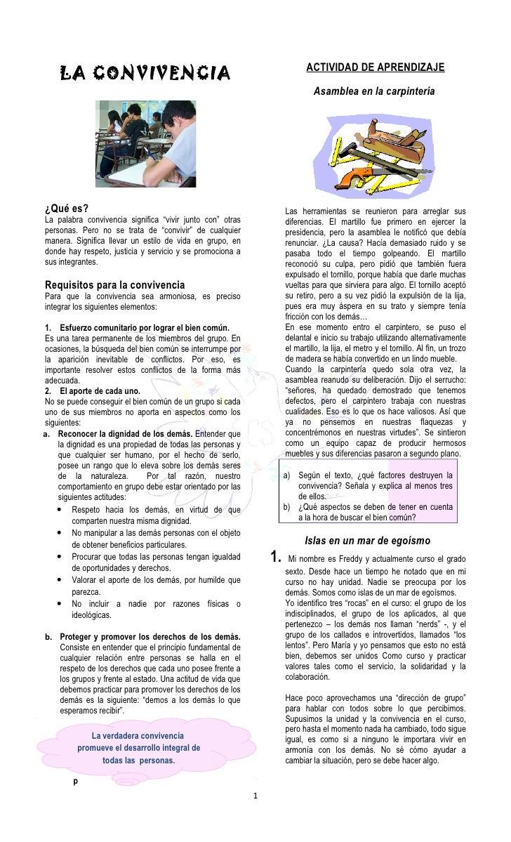 ACTIVIDAD DE APRENDIZAJE    LA CONVIVENCIA                                                                              As...