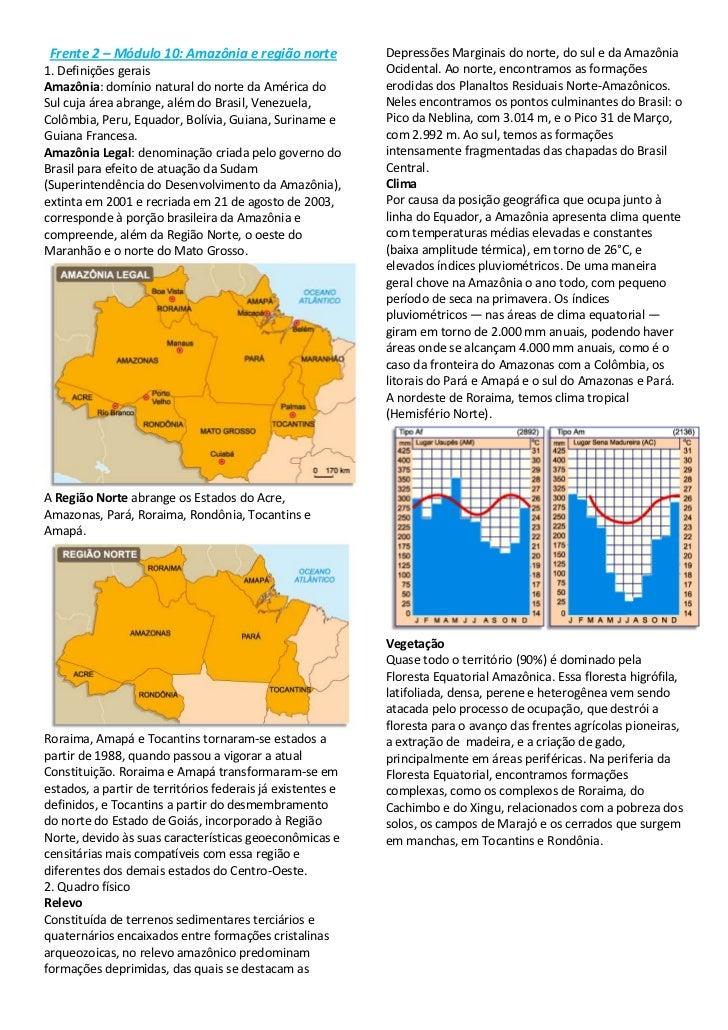 Frente 2 – Módulo 10: Amazônia e região norte<br />1. Definições gerais<br />Amazônia: domínio natural do norte da América...