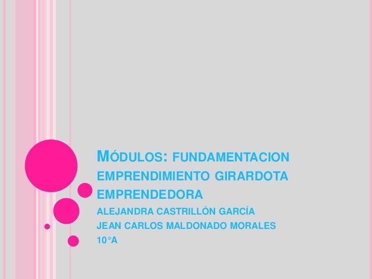 MÓDULOS: FUNDAMENTACIONEMPRENDIMIENTO GIRARDOTAEMPRENDEDORAALEJANDRA CASTRILLÓN GARCÍAJEAN CARLOS MALDONADO MORALES10°A