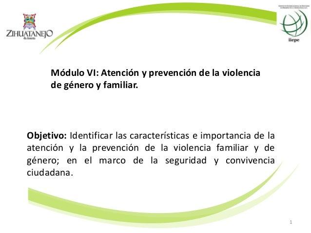 1 Módulo VI: Atención y prevención de la violencia de género y familiar. Objetivo: Identificar las características e impor...