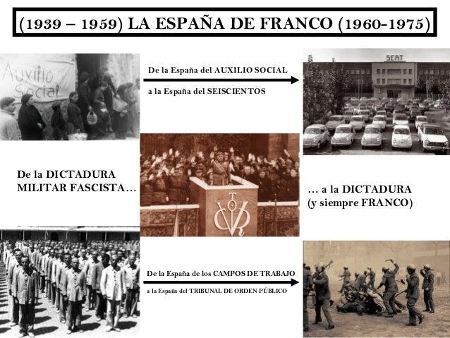 (1939 – 1959) LA ESPAÑA DE FRANCO (1960-1975)                    De la España del AUXILIO SOCIAL                    a la E...