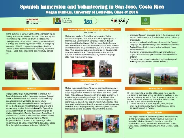 Background  Intensive Month Spanish Language Program  Project Outcomes  (May 5th-June 2nd)  In the summer of 2012, I went ...