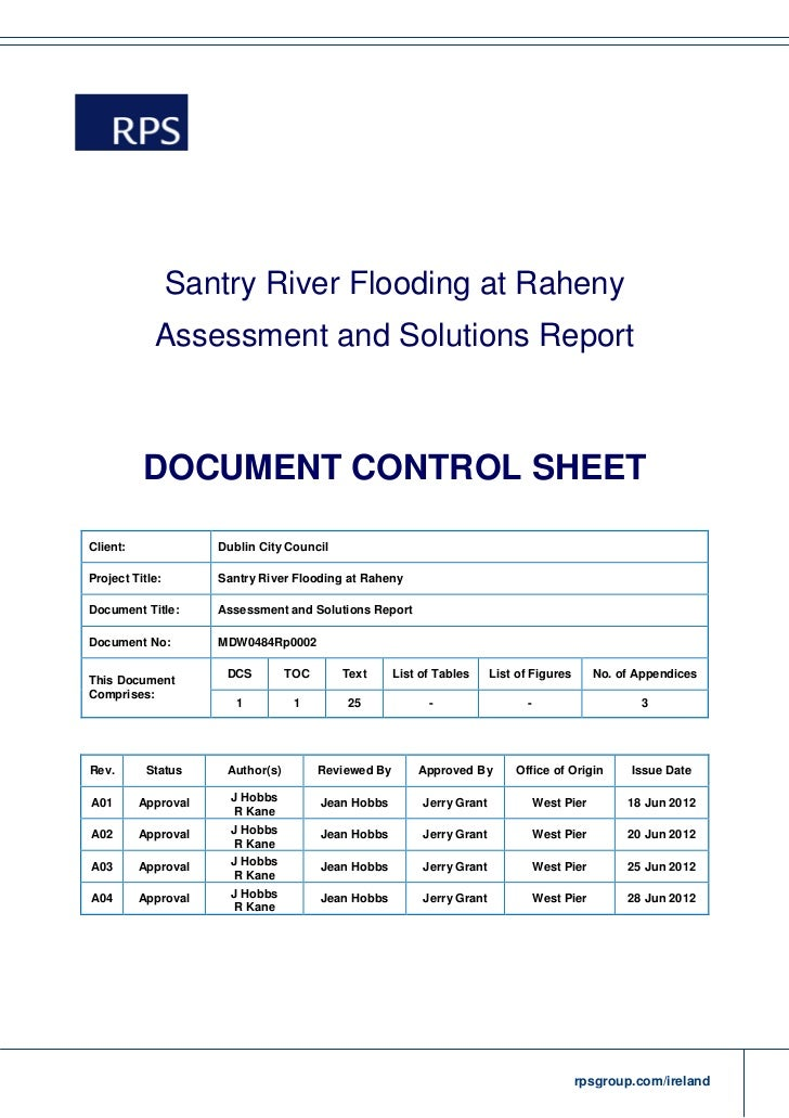 Santry River Flooding at Raheny            Assessment and Solutions Report          DOCUMENT CONTROL SHEETClient:         ...