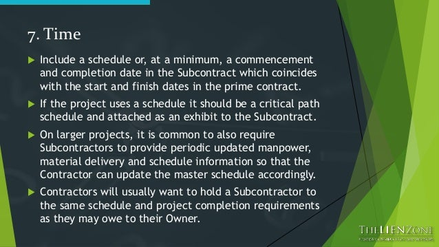 Your Construction Subcontract. The 23 Points That Matter Most