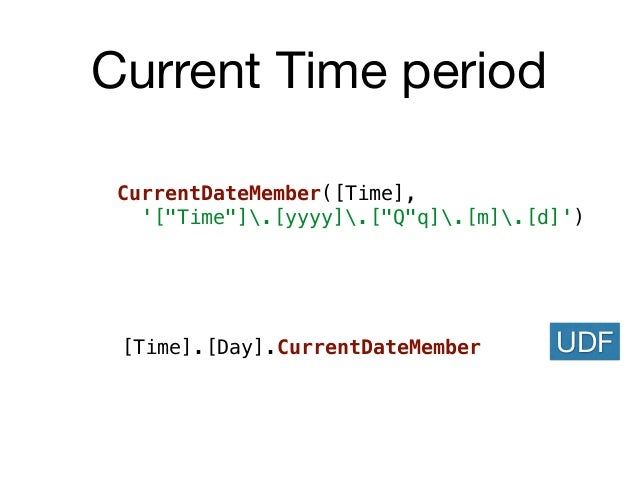"Current Time period CurrentDateMember([Time], '[""Time""].[yyyy].[""Q""q].[m].[d]') [Time].[Day].CurrentDateMember UDF"