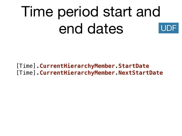 Time period start and end dates [Time].CurrentHierarchyMember.StartDate [Time].CurrentHierarchyMember.NextStartDate UDF