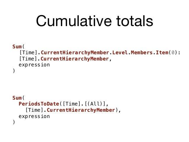 Cumulative totals Sum( [Time].CurrentHierarchyMember.Level.Members.Item(0): [Time].CurrentHierarchyMember, expression ) Su...