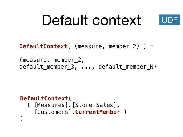 Default context DefaultContext( (measure, member_2) ) = (measure, member_2, default_member_3, ..., default_member_N) UDF D...
