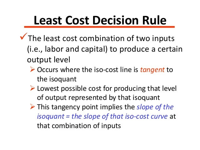 least cost combination of inputs