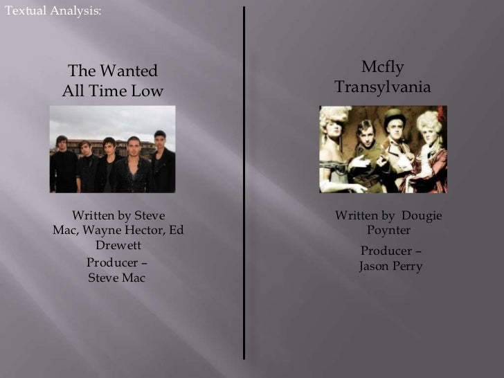 Textual Analysis:<br />Mcfly<br />Transylvania<br />The Wanted<br />All Time Low<br />Written by Steve Mac, Wayne Hector, ...