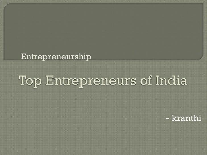 - kranthi Entrepreneurship