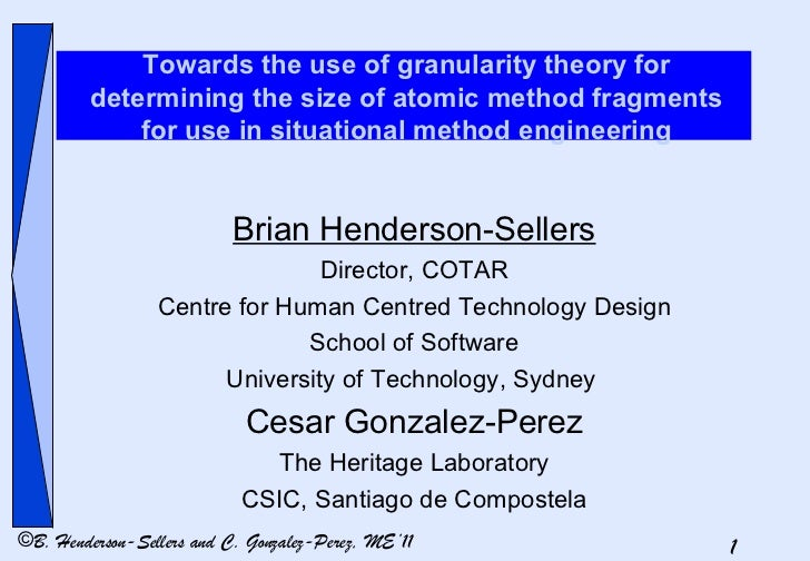Towards the use of granularity theory for determining the size of atomic method fragments for use in situational method en...