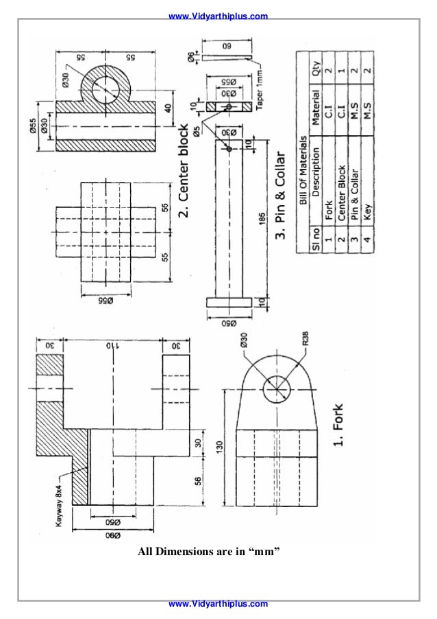 machine drawings dimensions in mm for the copper block