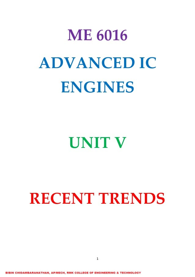 ME6016 ADVANCED I C ENGINES UNIT V