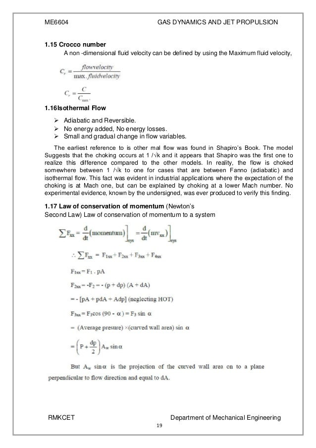 Gas dynamics and jet propulsion notes example