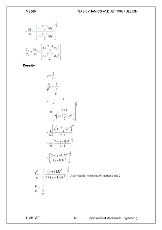 Me6604 Gas Dynamics And Jet Propulsion Notes