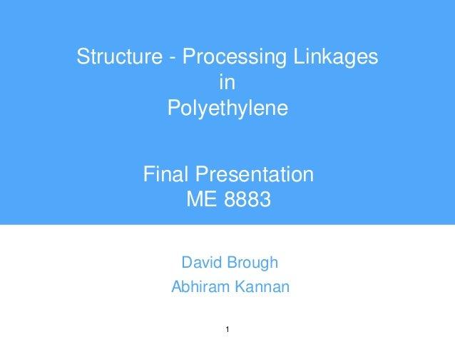 1 Structure - Processing Linkages in Polyethylene David Brough Abhiram Kannan Final Presentation ME 8883
