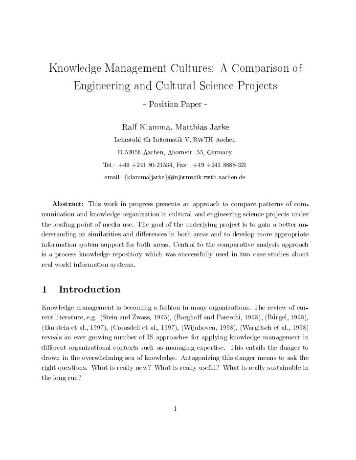 Knowledge Management Cultures: A Comparison of       Engineering and Cultural Science Projects                            ...