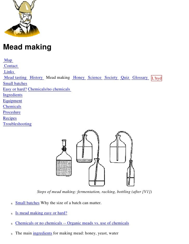 Mead making  Map  Contact  Links  Mead tasting History Mead making Honey Science Society Quiz Glossary L'hydre Small batch...