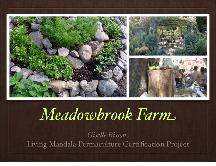 "Meadowbrook Farm                 Gise""e BissonLiving Mandala Permaculture Certification Project                            ..."