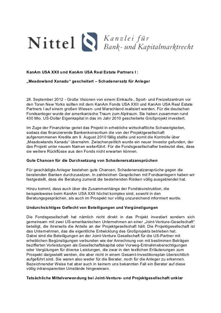 """KanAm USA XXII und KanAm USA Real Estate Partners I :""""Meadowland Xanadu"""" gescheitert – Schadenersatz für Anleger28. Septem..."""