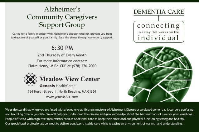 Alzheimer's Community Caregivers Support Group Caring for a family member with Alzheimer's disease need not prevent you fr...