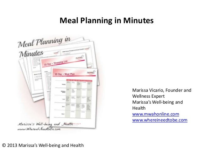 Meal Planning in Minutes Marissa Vicario, Founder and Wellness Expert Marissa's Well-being and Health www.mwahonline.com w...
