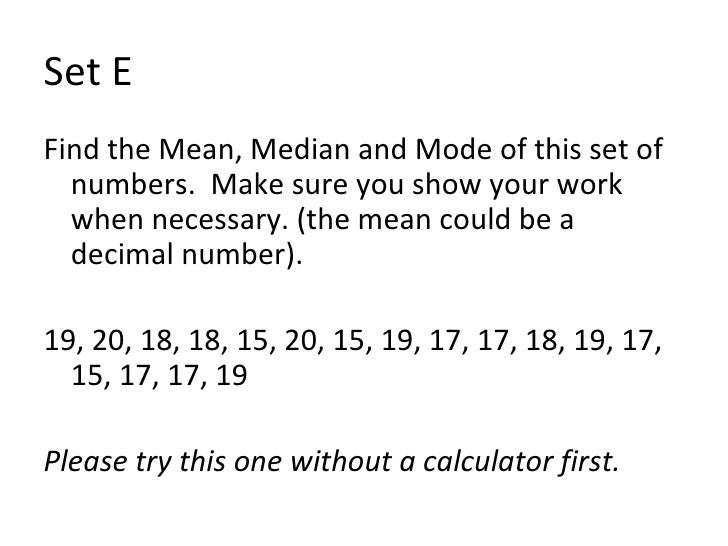 how to find mean median and mode