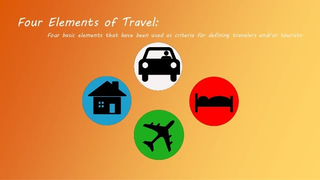 Four basic elements that have been used as criteria for defining travelers and/or tourists. Four Elements of Travel: