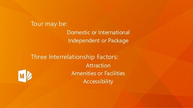 Tour may be: Domestic or International Independent or Package Three Interrelationship Factors: Attraction Amenities or Fac...