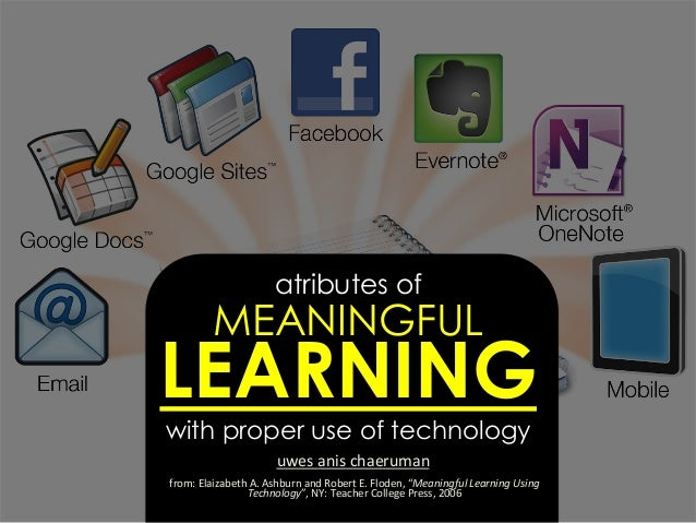 atributes of MEANINGFUL LEARNING with proper use of technology uwes	   anis	   chaeruman	    from:	   Elaizabeth	   A.	   ...