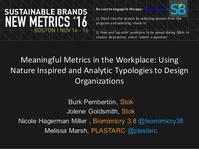 Meaningful	Metrics	in	the	Workplace:	Using	 Nature	Inspired	and	Analytic	Typologies	to	Design	 Organizations Burk Pemberto...