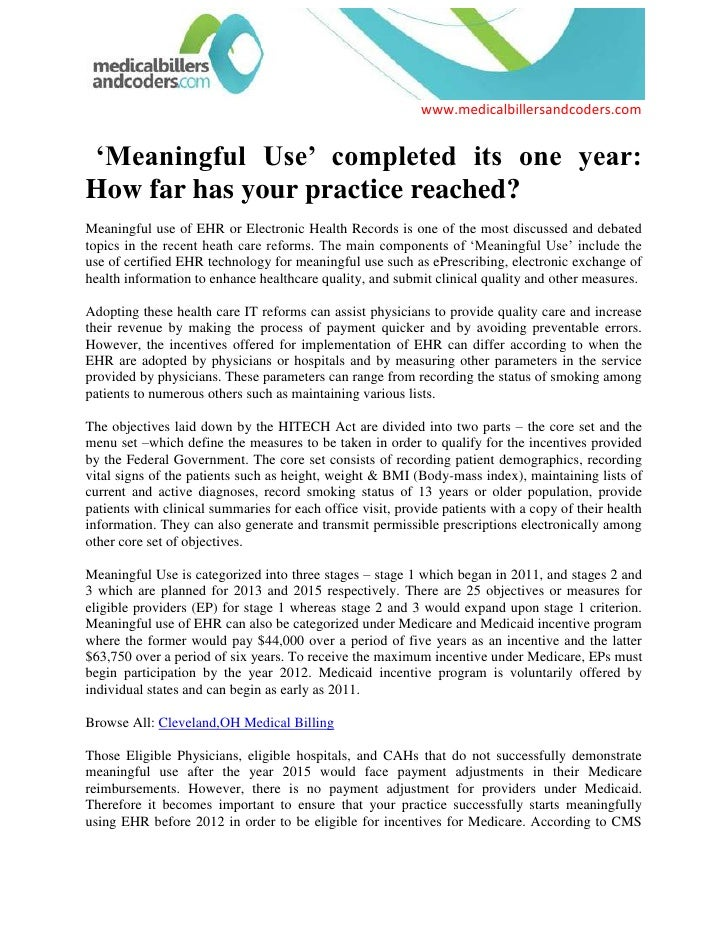 'Meaningful Use' completed its one year: How far has your practice reached?<br />Meaningful use of EHR or Electronic Hea...