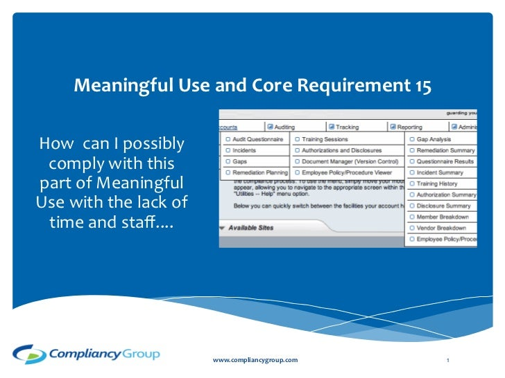 Meaningful	  Use	  and	  Core	  Require...