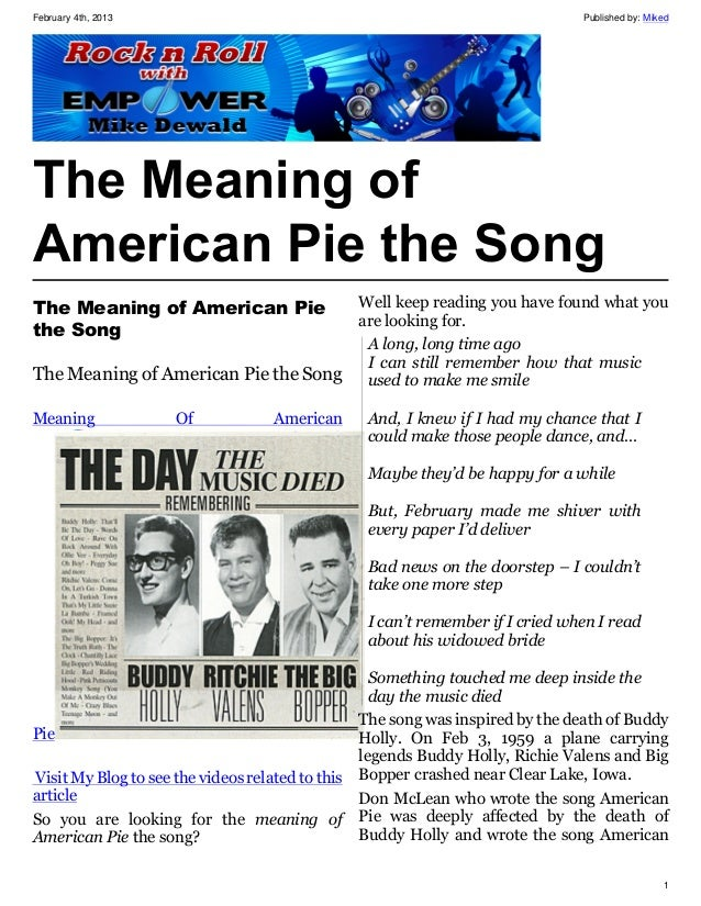 the meaning of american pie the song