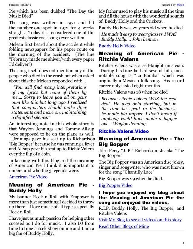 Understanding American Pie - Interpretation of Don Mclean ...