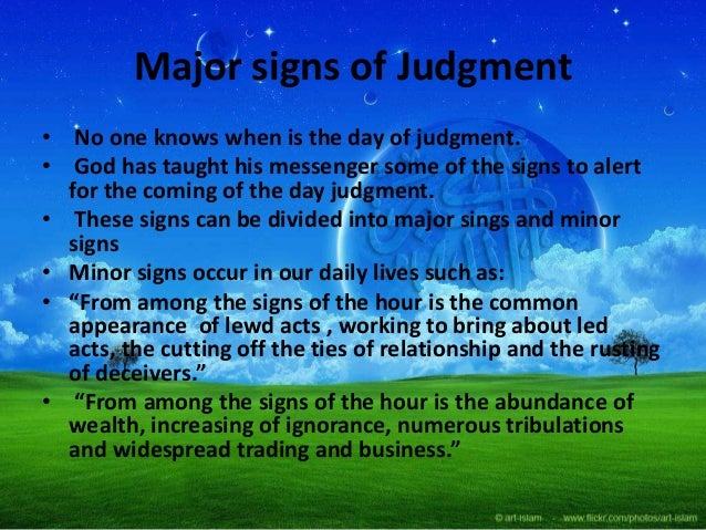 Major signs of Judgment ...