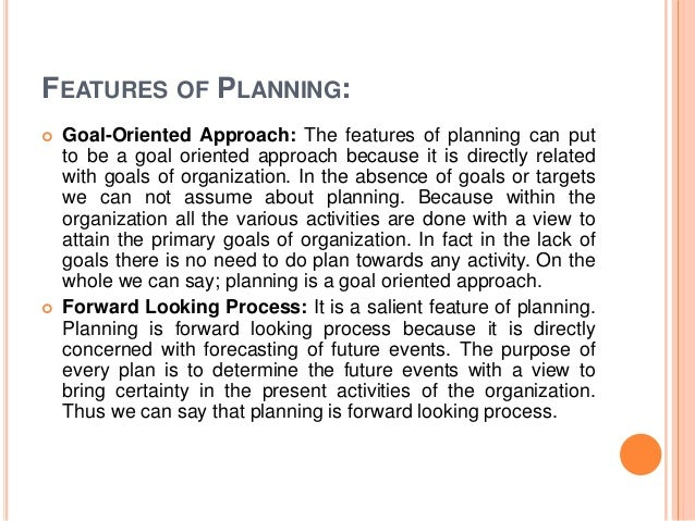 meaning of planning  features of planning