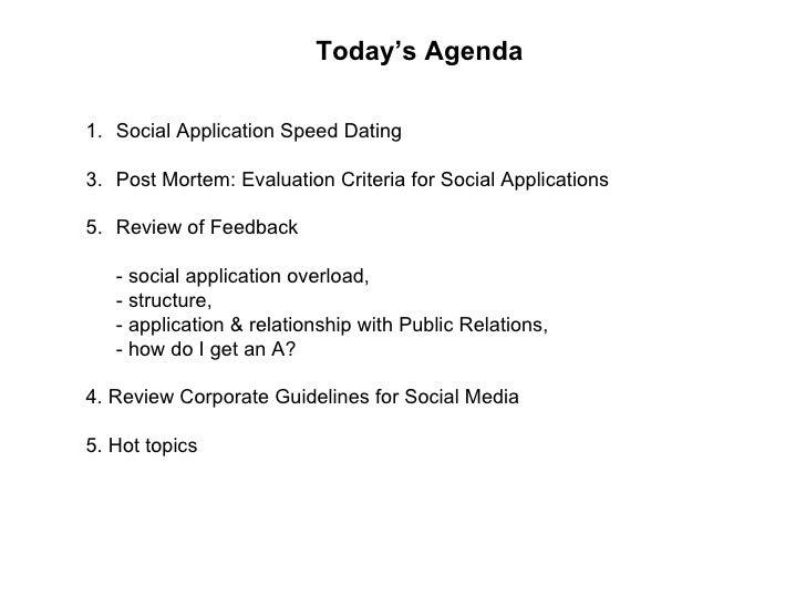 Speed Dating criteria