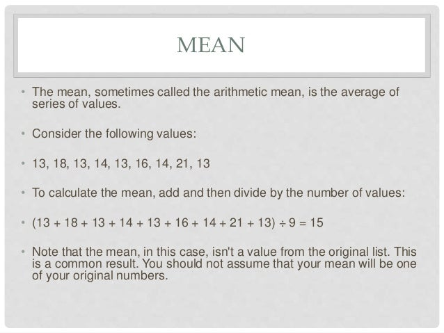 how to find mean median mode and range