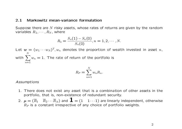 mean variance portfolio theory Read this essay on mean-variance portfolio theory come browse our large digital warehouse of free sample essays get the knowledge you need in order to pass your classes and more only at termpaperwarehousecom.