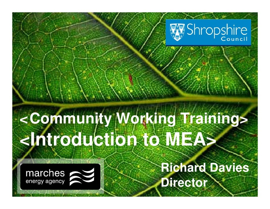 < Community Working Training>  '    <Introduction to MEA>                  Richard Davies                  Director