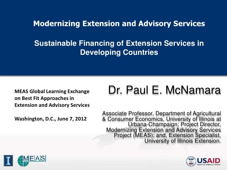 Modernizing Extension and Advisory Services        Sustainable Financing of Extension Services in                    Devel...