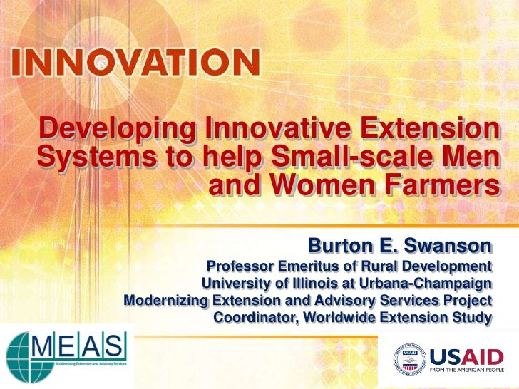 Developing Innovative ExtensionSystems to help Small-scale Men           and Women Farmers                              Bu...