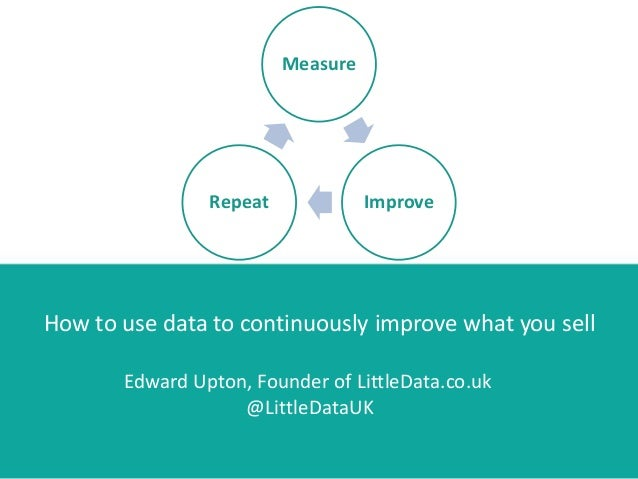 Measure ImproveRepeat How to use data to continuously improve what you sell Edward Upton, Founder of LittleData.co.uk @Lit...