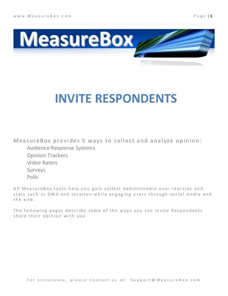 www.MeasureBox.com                                                   Page |1               INVITE RESPONDENTSMeasureBox pr...